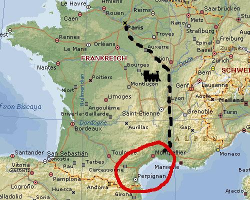Camargue Karte.Suedfrankreich 2008